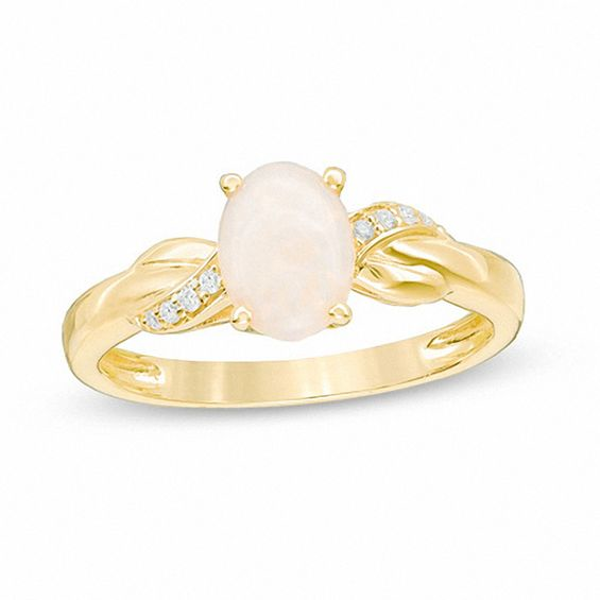Oval Opal And Diamond Accent Twist Ring In 10k Rose Gold