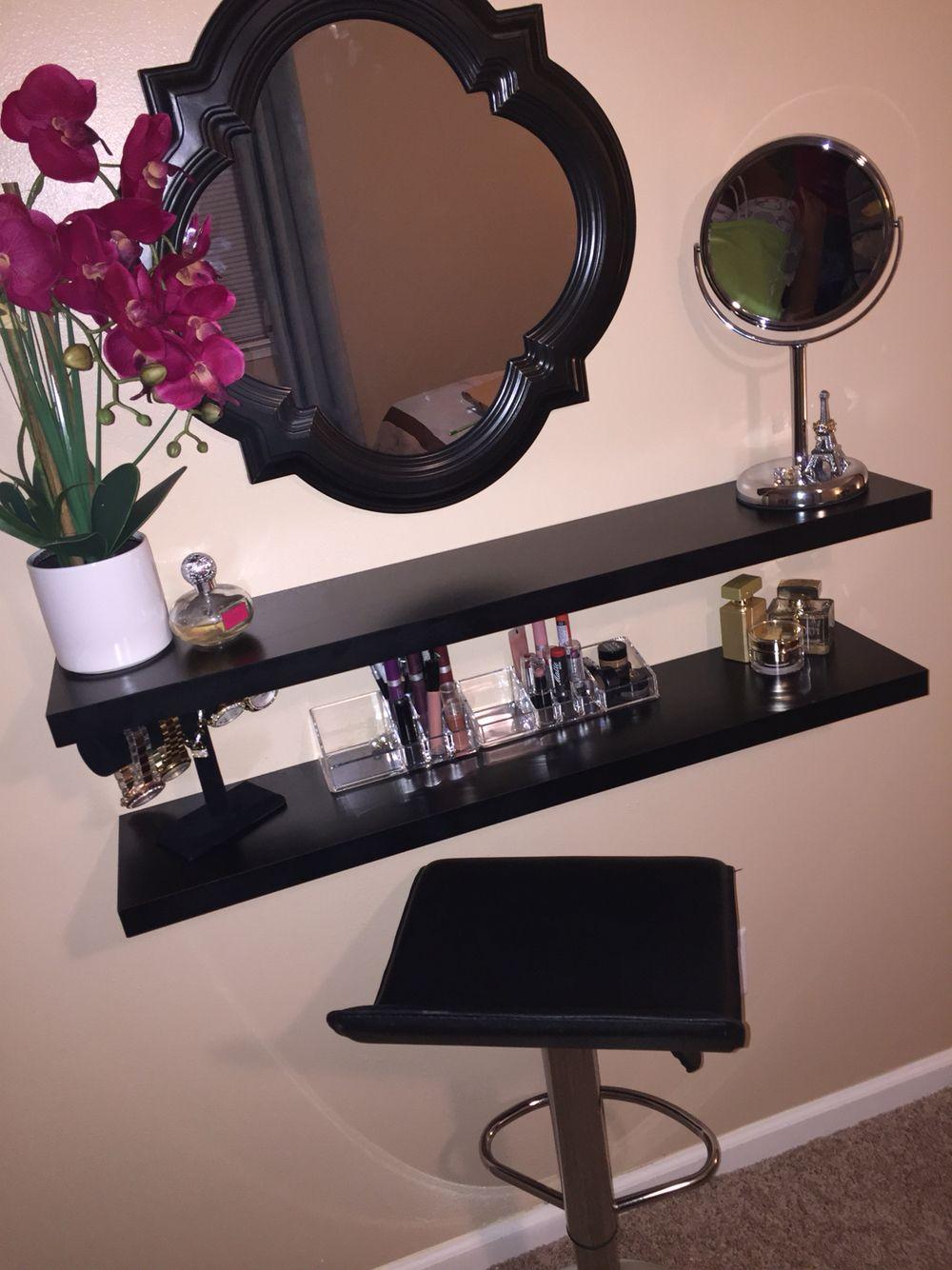 My very own diy vanity i made using floating shelves glam room