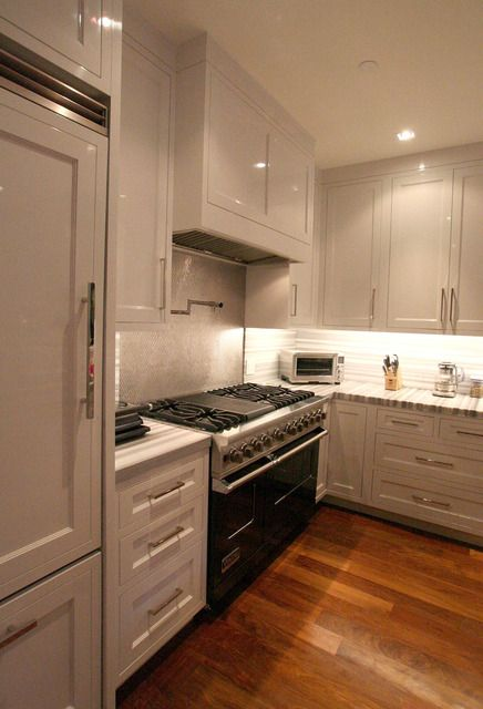 astounding white kitchen cabinets wood floors | amazing white cabinets, white counters, silver hardware ...
