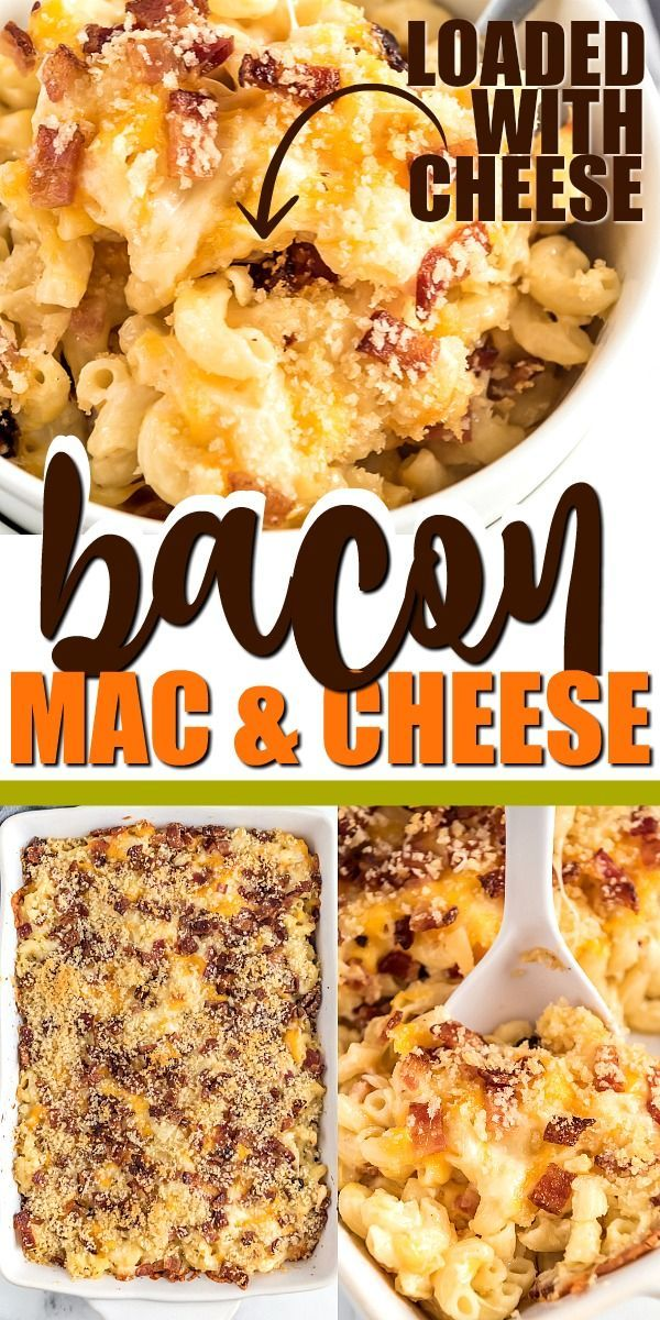 Classic comfort food at it's best, this recipe for bacon mac and cheese is a cheesy, creamy meal your family will devour! Baked in the oven from scratch, it's loaded with extra cheese and tender noodles — and with plenty of bacon, of course. #bakedmacandcheeserecipe