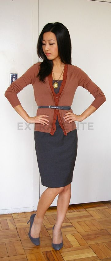 Styling a pencil skirt & cardigan for perfectly polished business look.  It's all in the details.