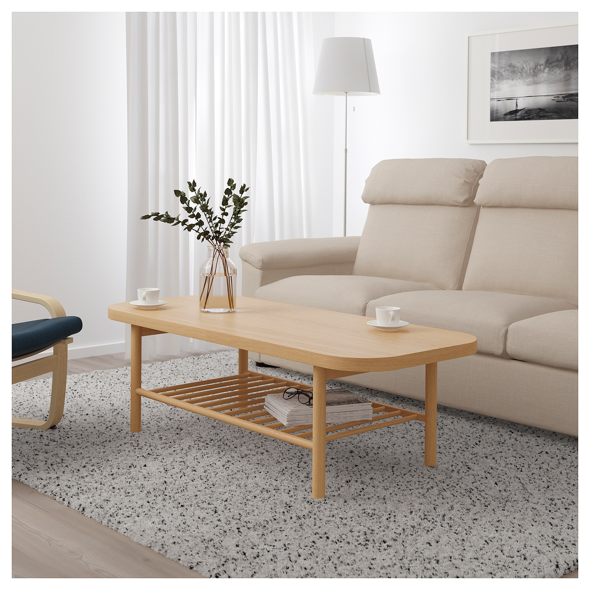 LISTERBY white stained oak, Coffee table, 140x60 cm IKEA