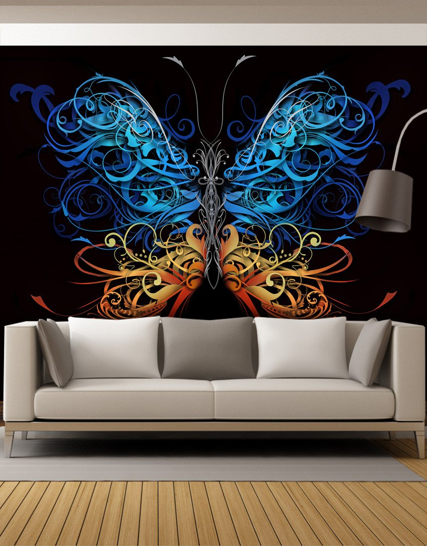 Large Swirl Butterfly Wall Graphic Mural 6024 Living room