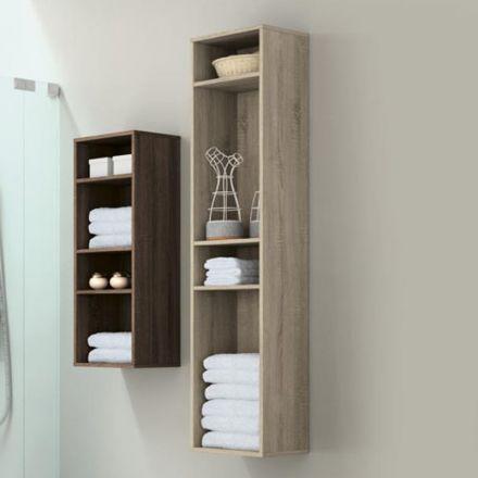 colonne de rangement suspendu en bois pour salle de bain incluant 3 tag res installation l. Black Bedroom Furniture Sets. Home Design Ideas