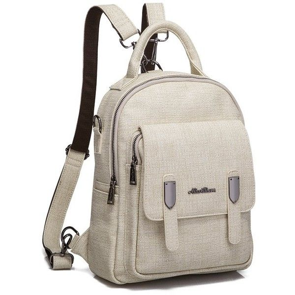 4ed76363f3 Pocket Faux Leather Double Zipper Backpack ( 35) ❤ liked on Polyvore  featuring bags