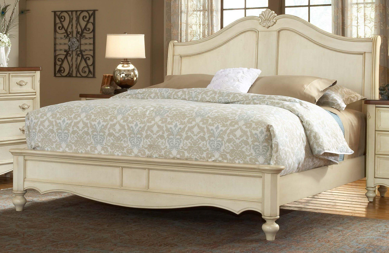Französisch Land Schlafzimmer Dekor Clasic Grau Bett Weiß