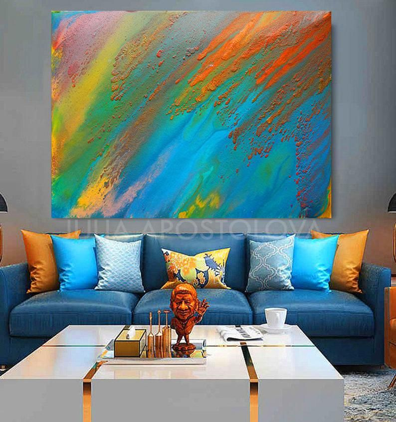 Blue Orange Wall Art Abstract Print Painting On Canvas Etsy Teal Colorful