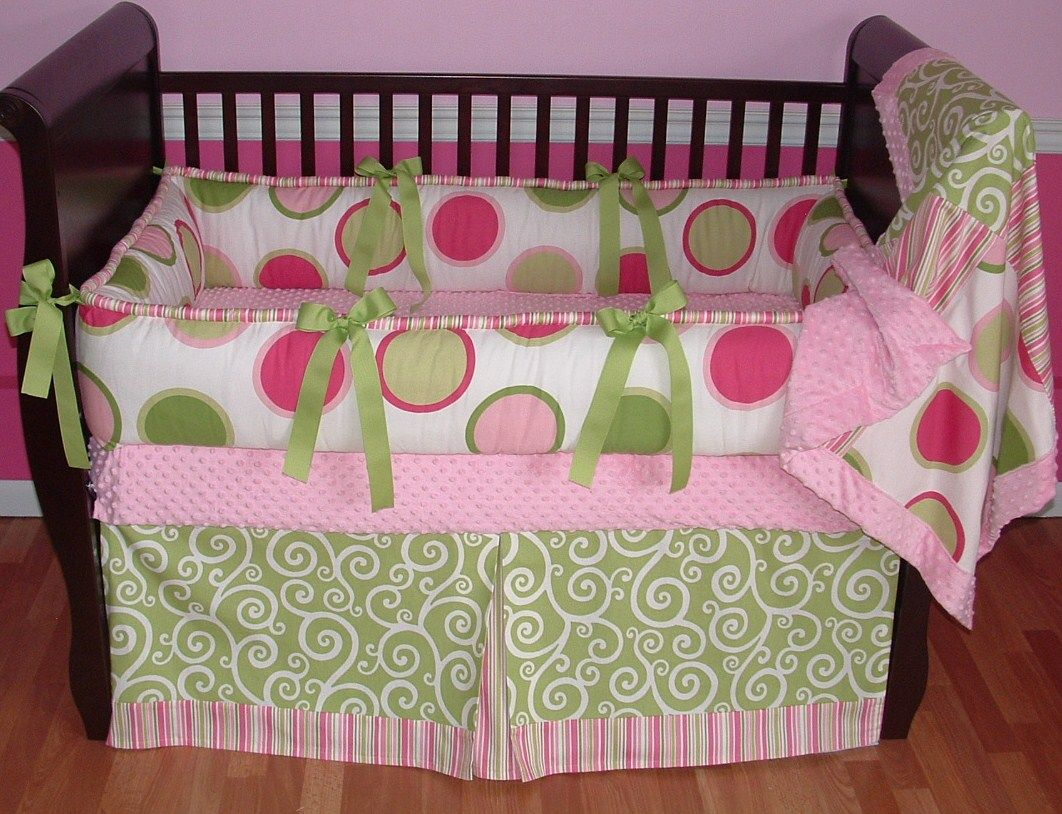 Pink Green Twister Crib Bedding Included In This Set Is The Pink