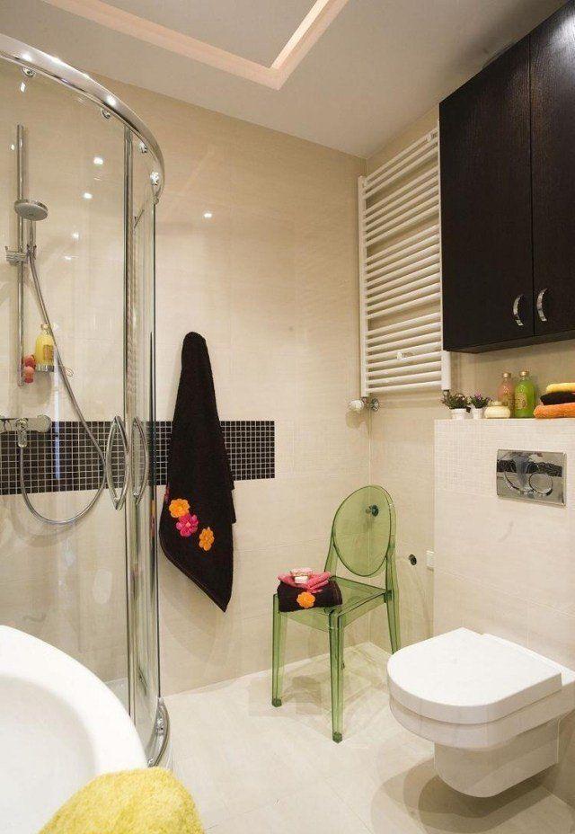 idées-pour-petite-salle-de-bain-douche-italienne-noir-blanc Salle - salle de bains douche italienne