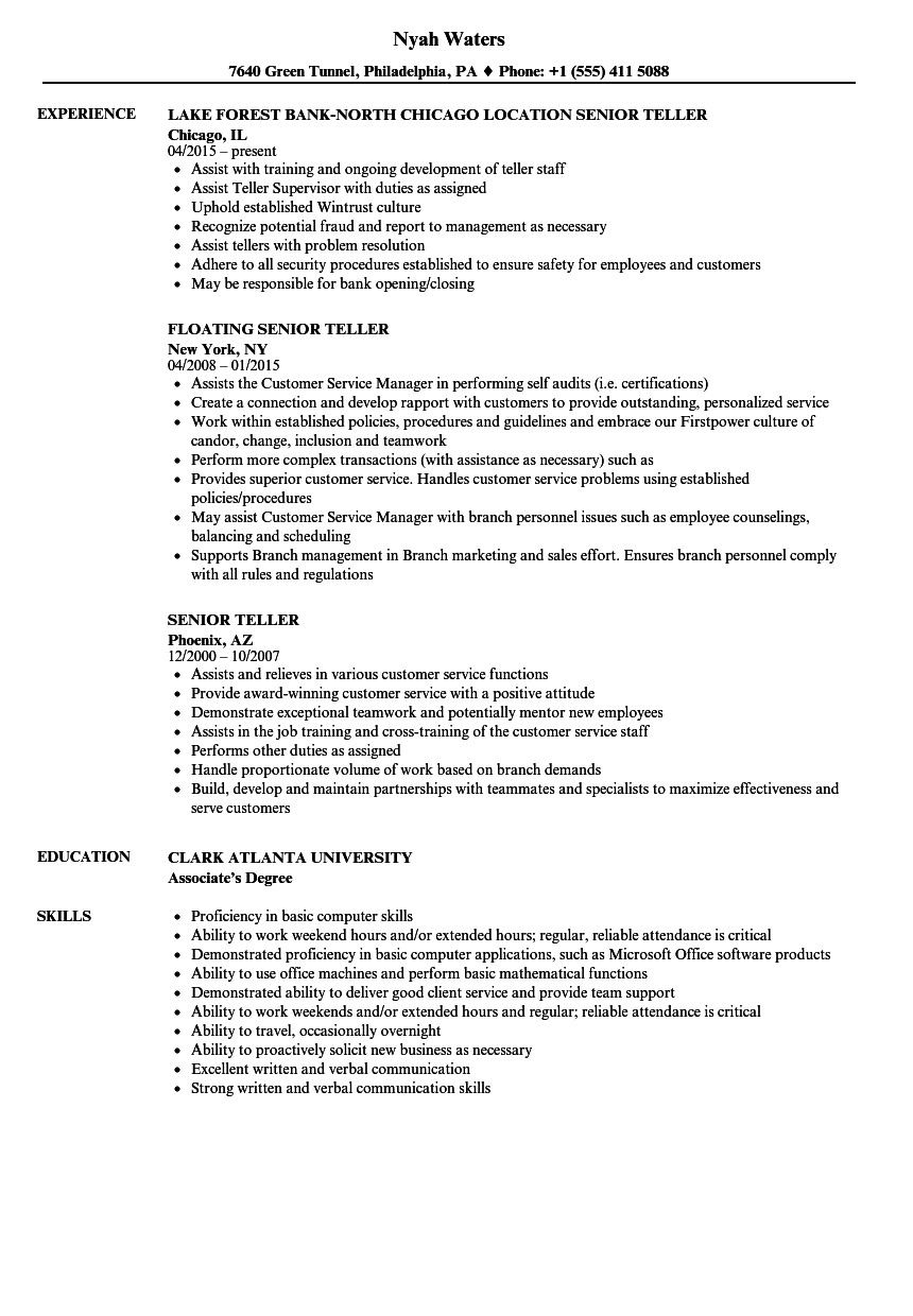 Resume for Bank Tellers Elegant Senior Teller Resume