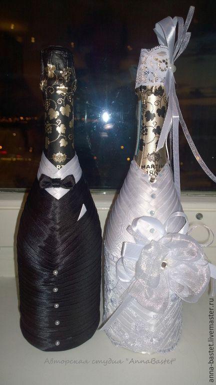 """Купить Свадебное шампанское """"День и Ночь"""" - черно-белый, свадьба 2015, <strong>день</strong> свадебные аксессуары"""