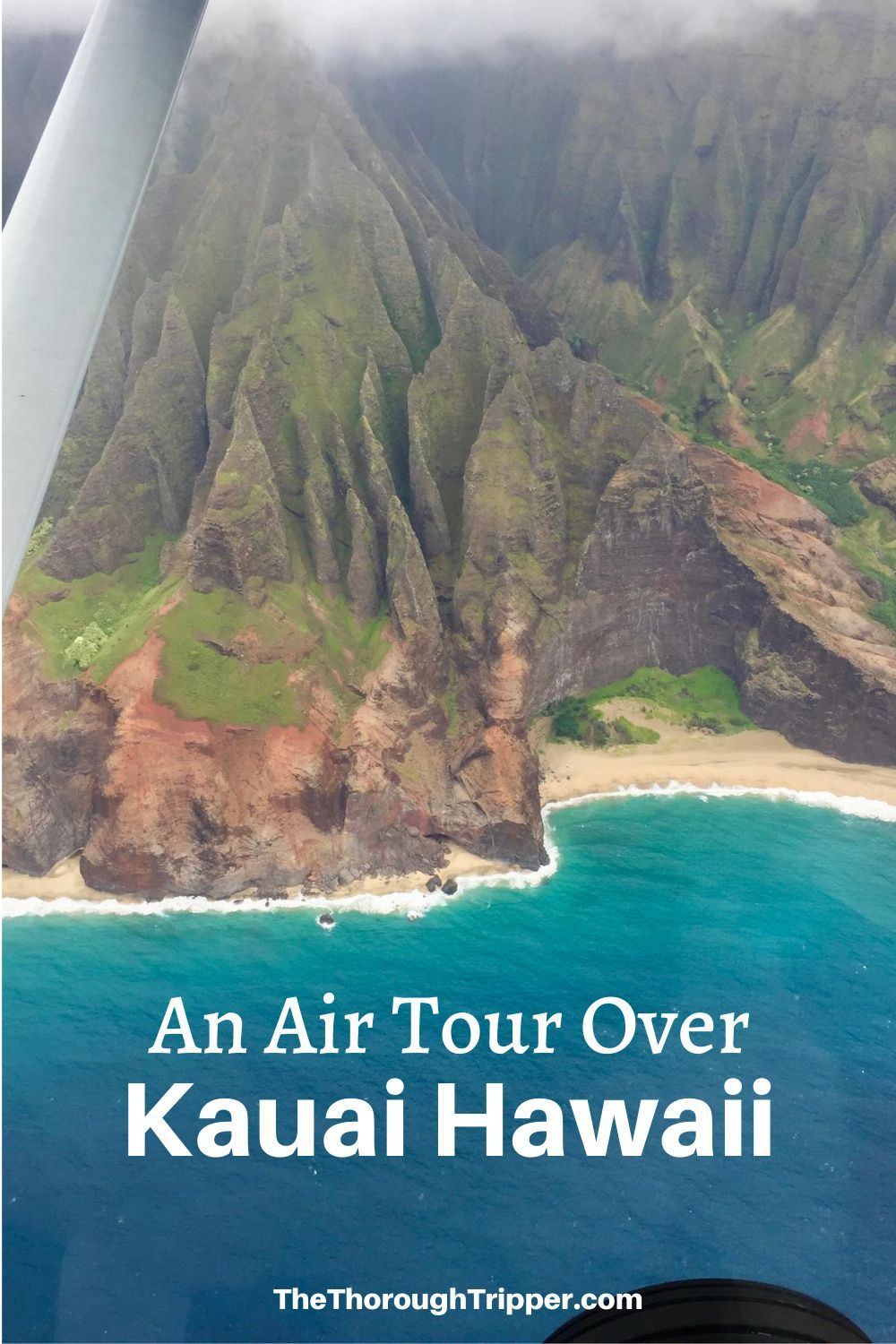 An Air Tour is a great way to see everything that the island of Kauai Hawaii has to offer including Waimea Canyon and the NaPali Coast.  I personally have a great fear of flying especially in a small Cessna plane, but the company Wings Over Kauai helped make it a great experience.  I'm glad my small plane phobia didn't stop me from taking this Kauai Hawaii Air Tour. #Kauai #Hawaii #NapaliCoast #WaimeaCanyon #AirTour