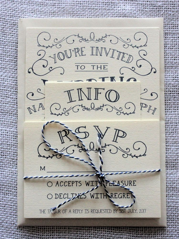 Vintage Shabby Chic Personalised Wedding Invitations Day