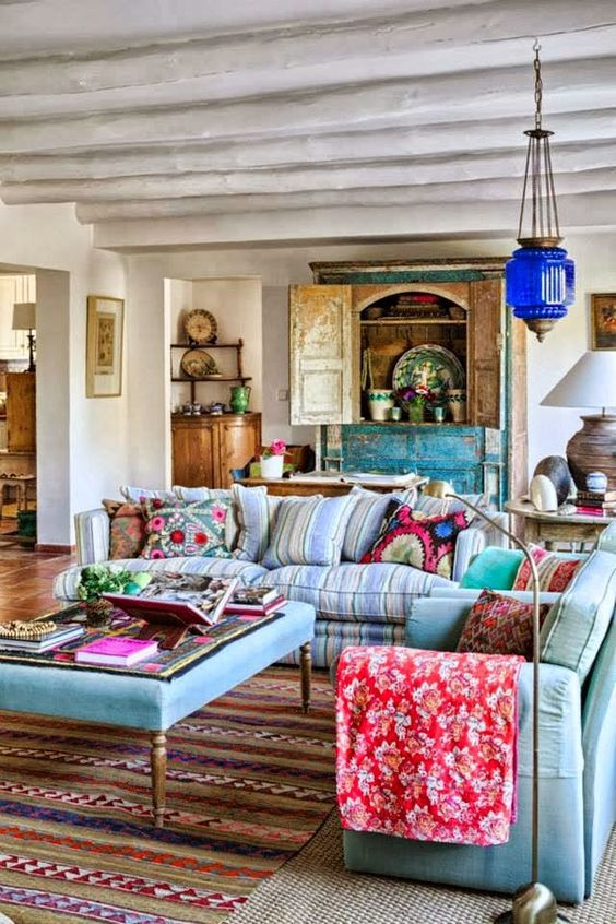 Bohemian Style Living Room With Bright Colors And Fun Patterns