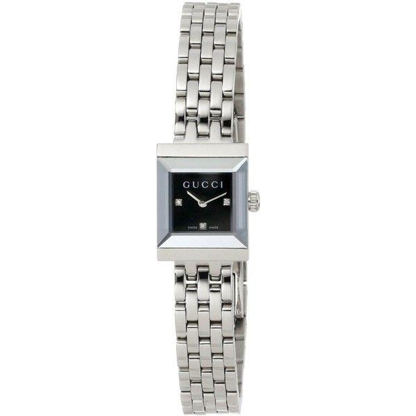 Gucci G Frame Square Steel Bracelet Black Diamond Dial Watch $875