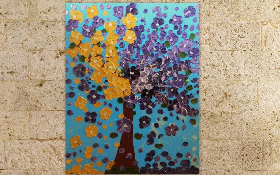 Large Abstract Painting acrylic Painting Tree Flowers by isitfine, £139.00