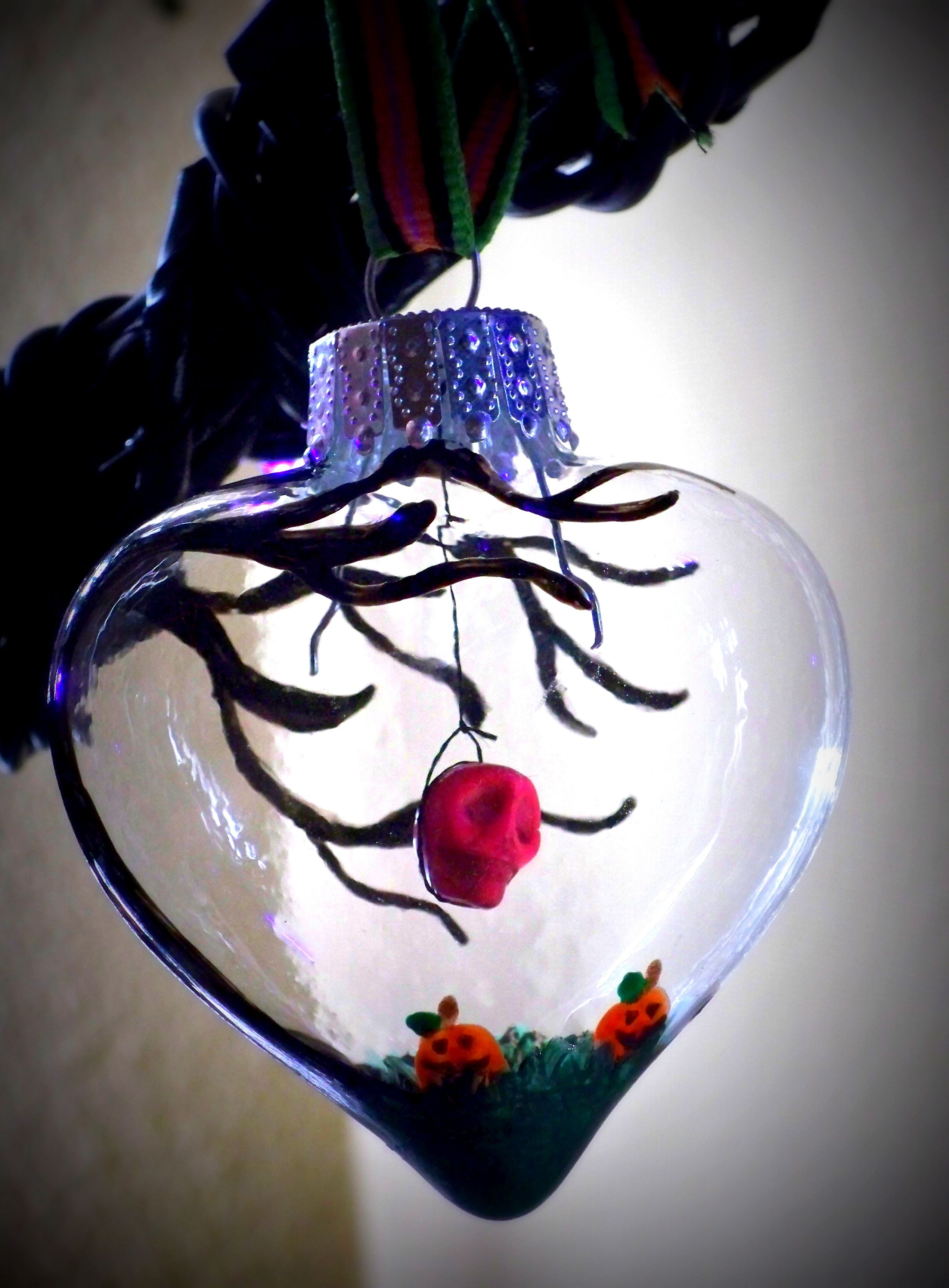 Her n his skull ornament hand painted ornaments