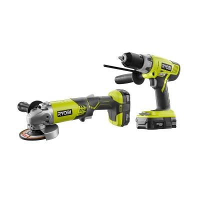 ryobi one 18 volt lithium ion cordless hammer drill and angle grinder combo kit 2 tool p858. Black Bedroom Furniture Sets. Home Design Ideas