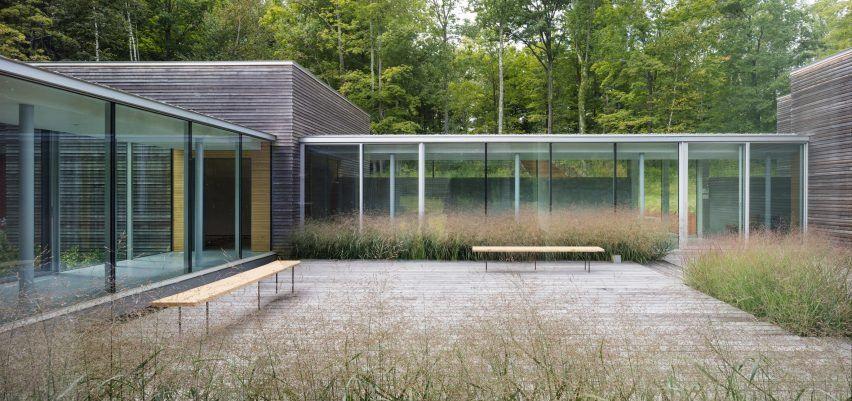 Artist retreat by gluck glass corridors connect