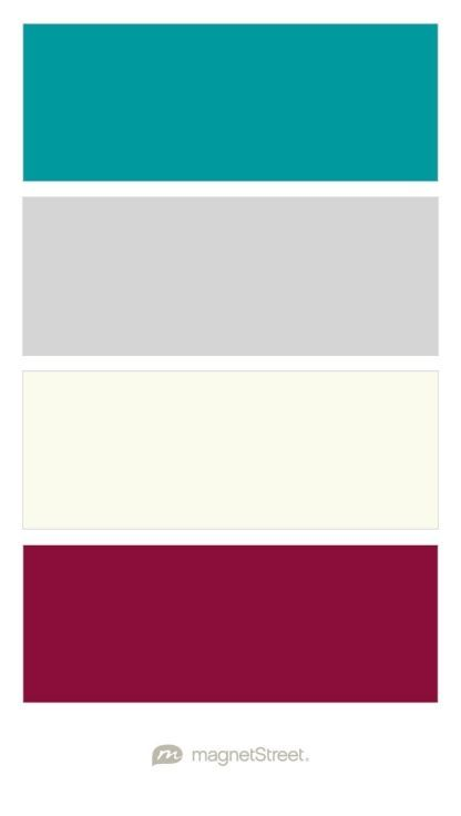 Teal Silver Ivory And Burgundy Wedding Color Palette Custom Created At Magnetstreet