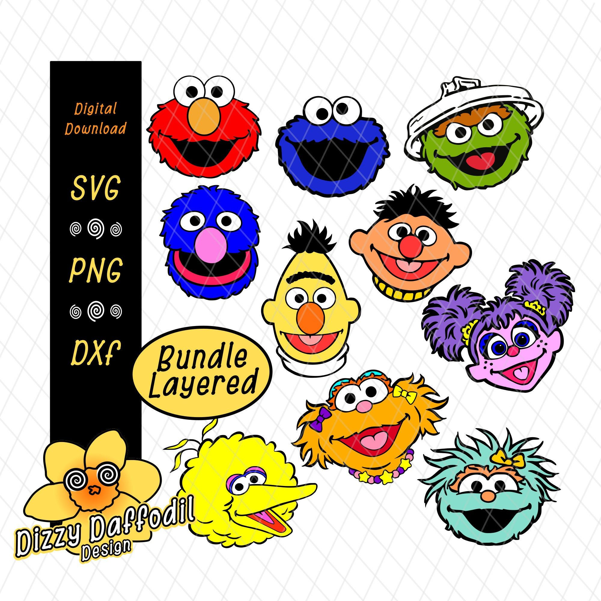 Sesame Street Face Head Bundle Svg Dxf Sesame Street Layered Design Digital Download Elmo Cookie M Digital Collage Sheets Sesame Street Selling Handmade Items
