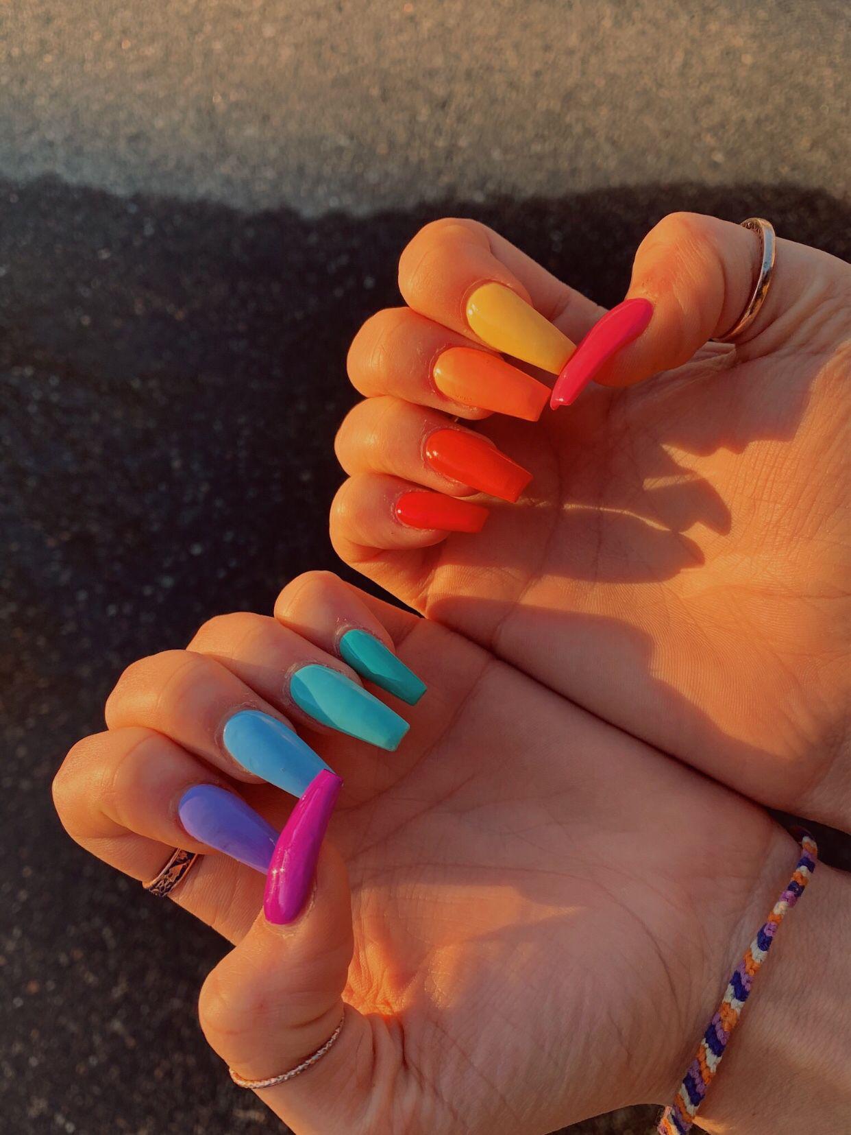Kndllkng 3 Cute Acrylic Nails Solid Color Nails Cute Nails