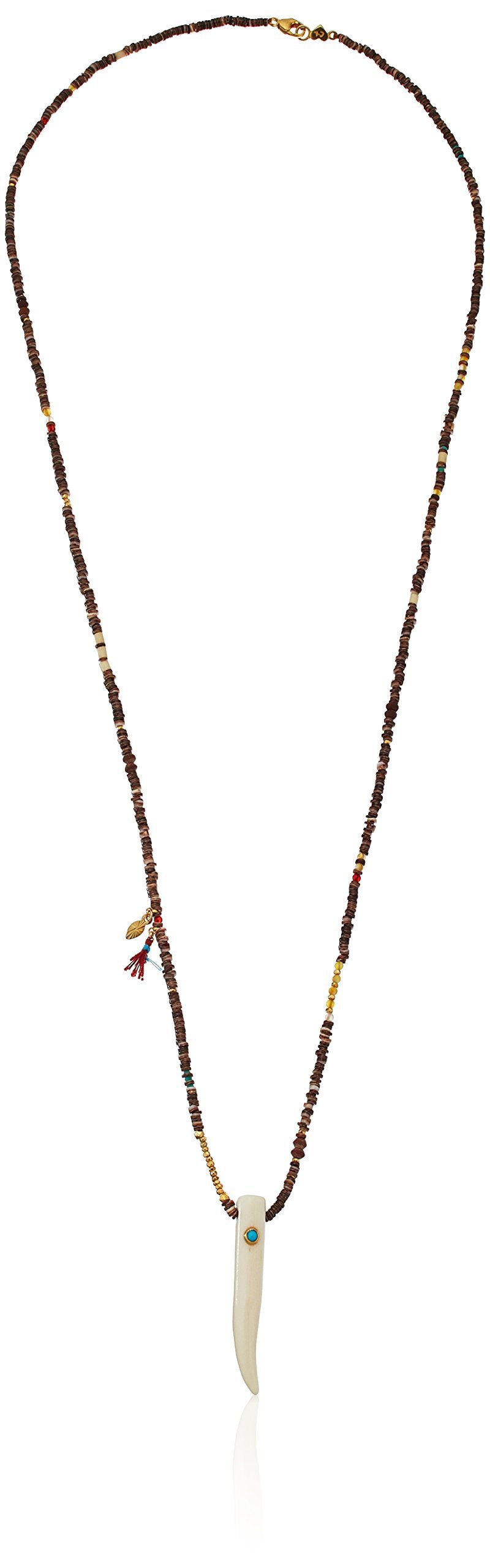 Chan Luu Turquoise Bone Necklace. Items that are handmade and use natural stones, may vary in size, shape and color. Made in Viet Nam. 18k Gold Plated Sterling Silver. Imported.