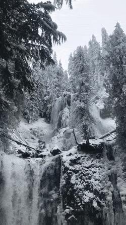 A Winter Waterfall Gifs Winter Landscape Winter Scenery Winter Scenes