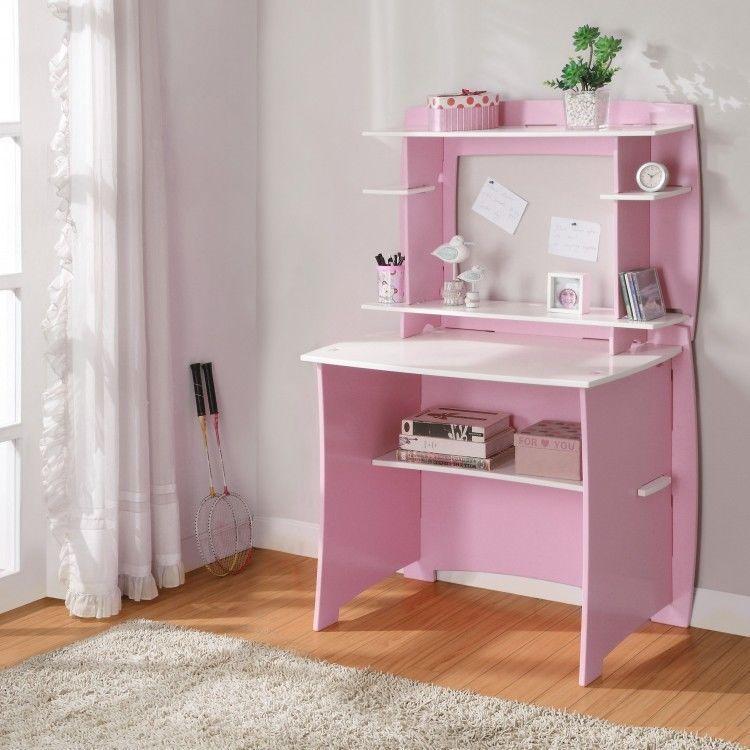 pink student hutch computer desk wood white shelves modern no rh pinterest com