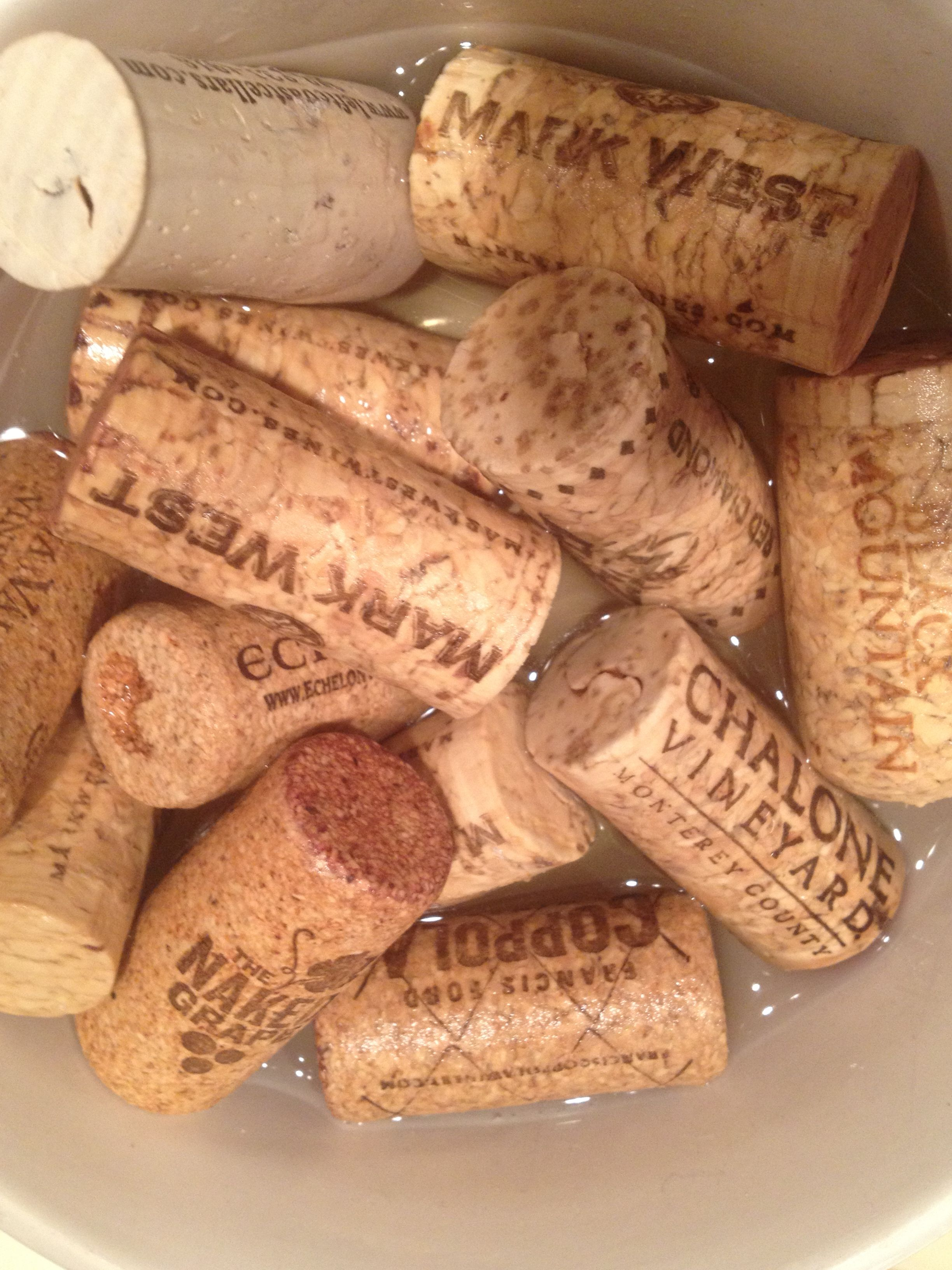 How to clean wine off corks ak in hot water and a splash of