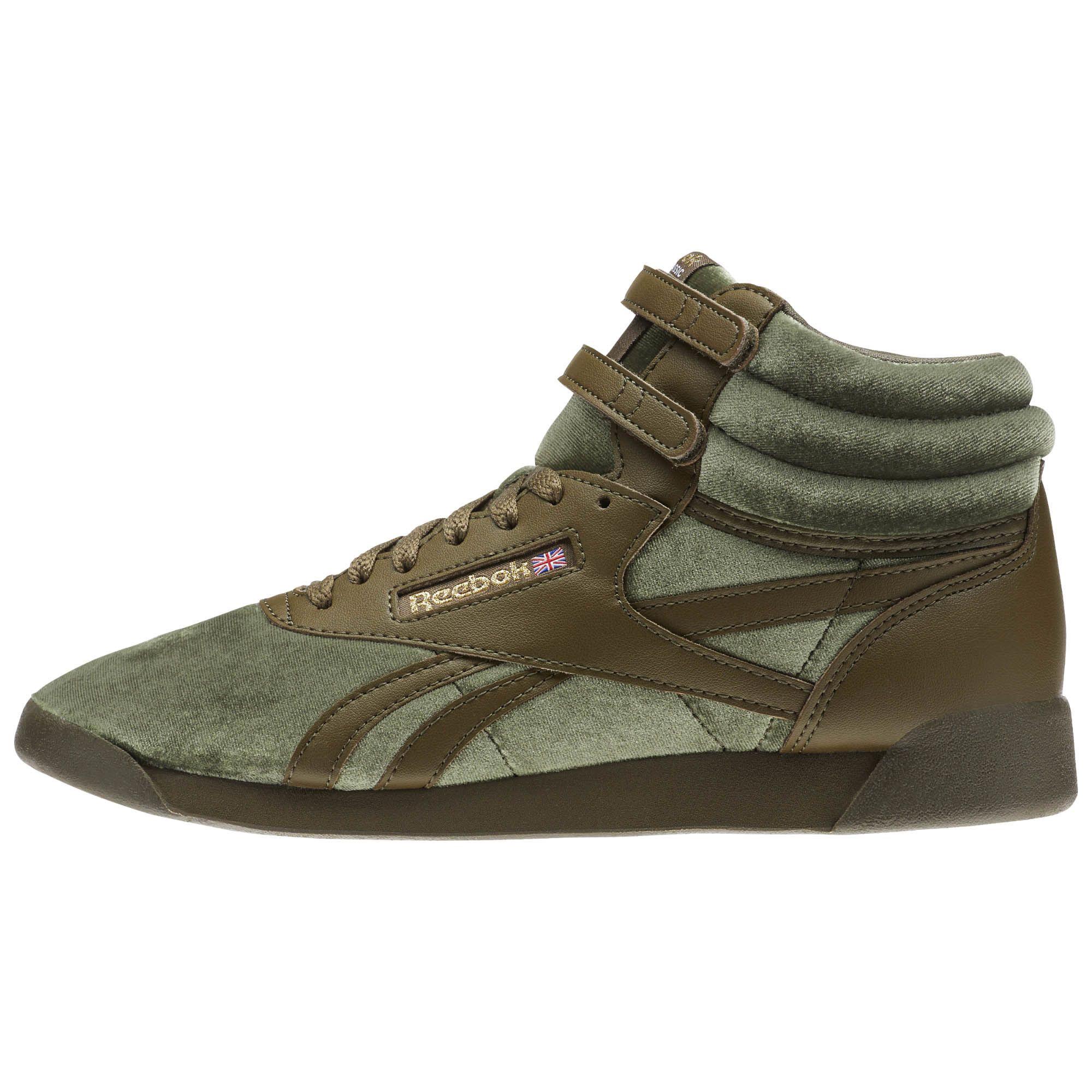 40067992055e Reebok Freestyle Hi Velvet Sneaker - Grade School Army Green   Gold ...