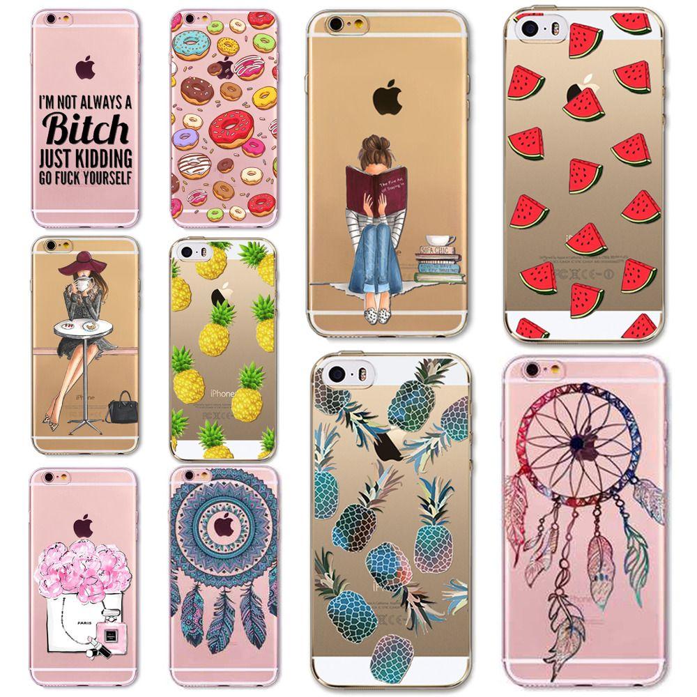 Fina e Macia TPU Silicone Transparente Frutas DREAM CATCHER Caso lovly menina cobrir para apple iphone 5 5s se 6 6 s 6 plus 6 s além de