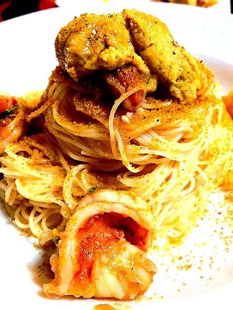 レシピは近々ブログにUPします。 - 39件のもぐもぐ - 魚介とカラスミの冷製カッペリーニ by yuchacoro