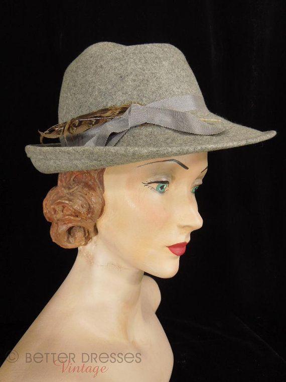 70s or 80s Gray Wool Felt Fedora Ladies  Hat by BeeDeeVintage ... 55627a32688