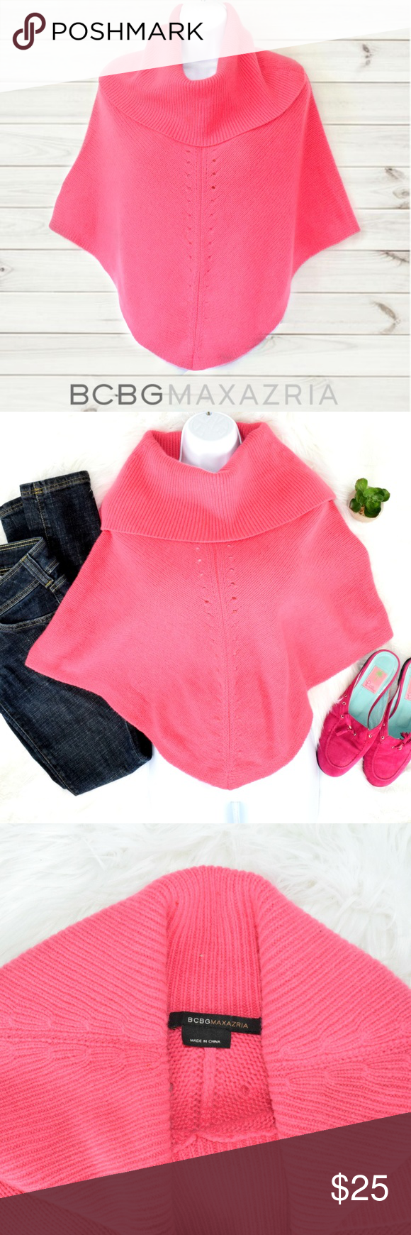 """BCBG Pink Cashmere Poncho This bright pink 100% cashmere poncho sweater by BCBG MaxAzria will wrap you in comfort and luxury. Wide cowl collar.  Lenght: Approx 28"""" neck to point hem. On me (5'4) the point of the hem come to my inseam, the """"sleeves"""" about 3/4 length. There is no official size, but I'd consider it a small to medium.  *There is a dime-sized repair stitch about three inches up from the right """"sleeve"""" hem. See pic. Priced accordingly. BCBGMaxAzria Sweaters Shrugs & Ponchos"""