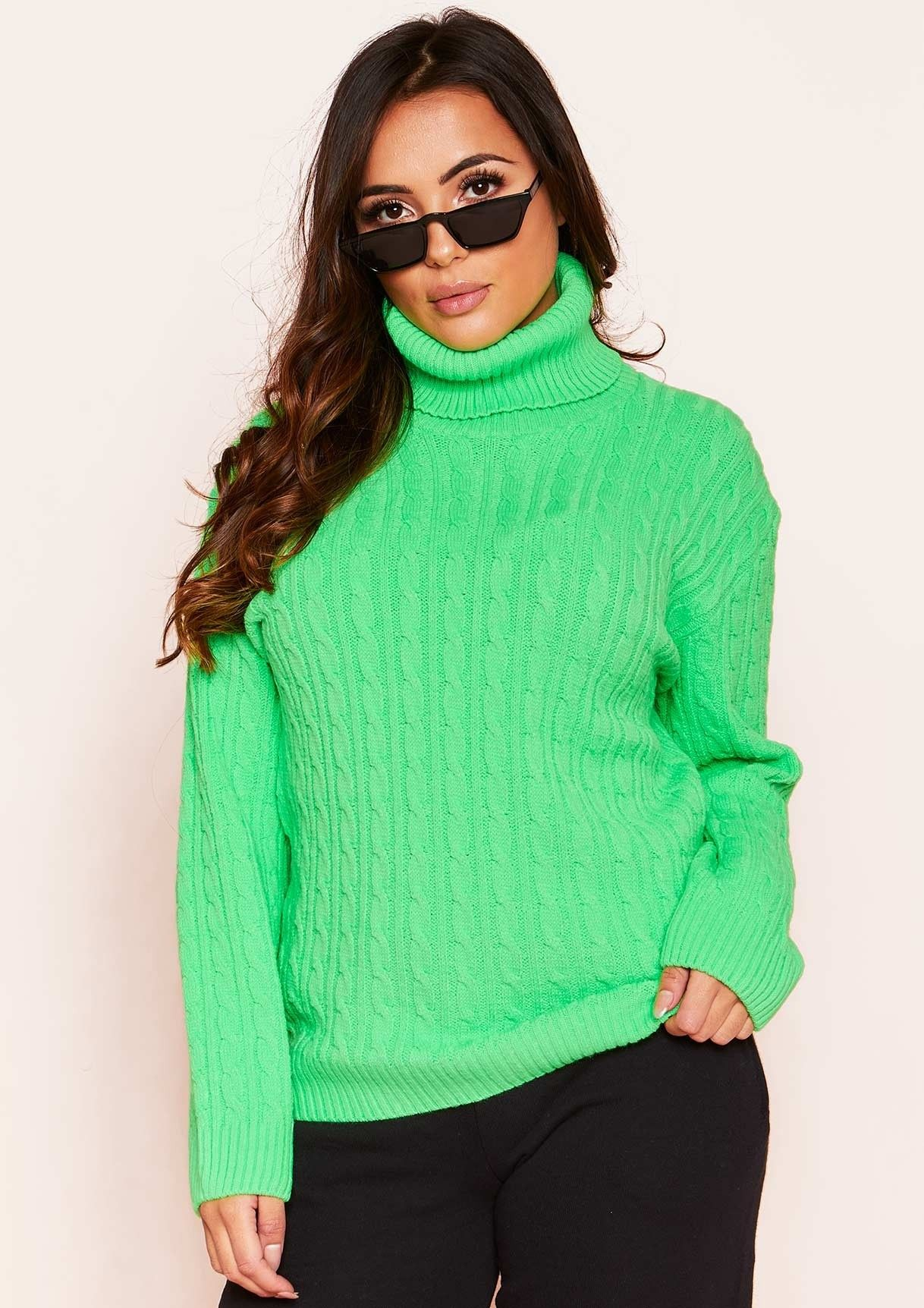 6cdf409d55 Missyempire - Isla Neon Green Roll Neck Knitted Cable Jumper ...