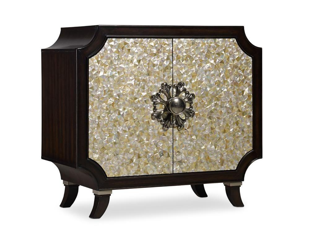 Hooker Furniture Living Room Melange Tavi Door Chest(Mother Of Pearl)