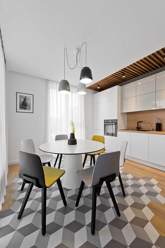 Blanco gris amarillo y madera 03b comedor con suelo for Corredor deco blanco y gris