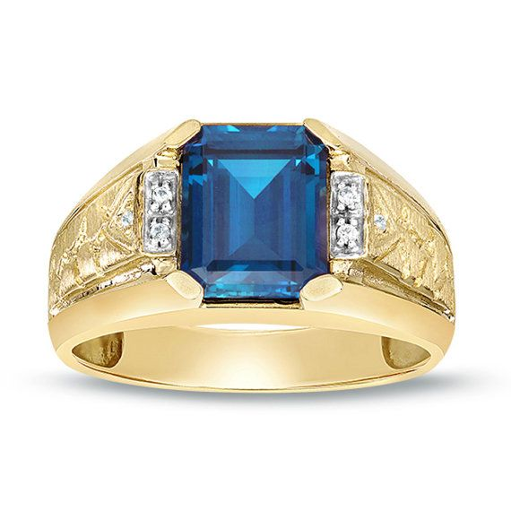 Men S Blue Topaz Ring Yellow Gold Solitaire Ring With Diamonds Ring Octagon Blue Stone Ring Men Solitaire R Emerald Ring Gold Red Gemstone Ring Emerald Ring