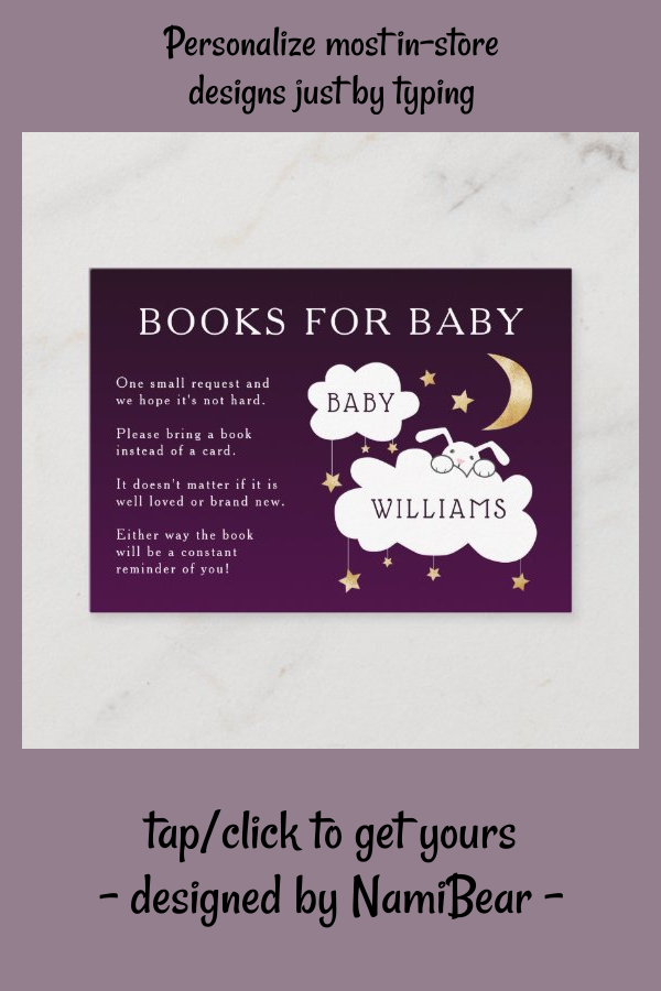 Sweet Purple Lullaby Book Request Baby Shower Enclosure Card | Zazzle.com
