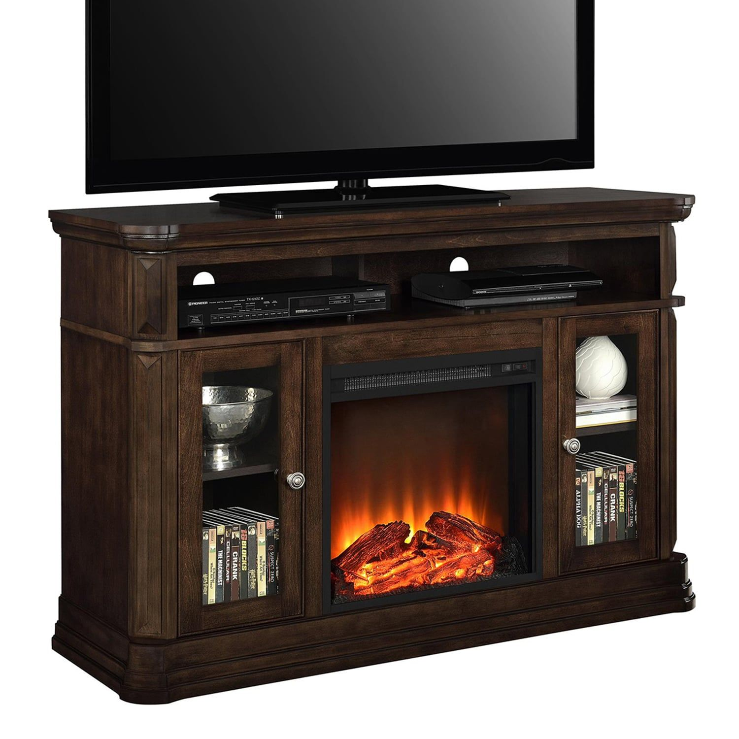Ameriwood Brooklyn Electric Fireplace Tv Stand Fireplace Tv