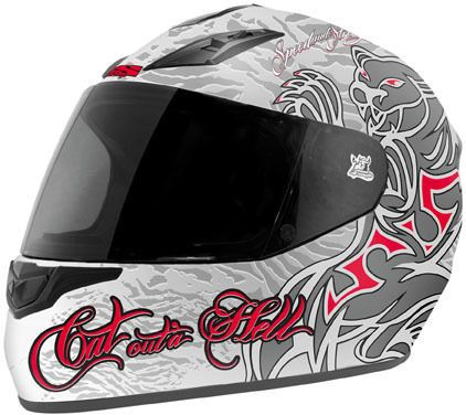 Speed and Strength SS1000 Motorcycle Helmet Cat Outta Hell Ladies XS XTRA SMALL