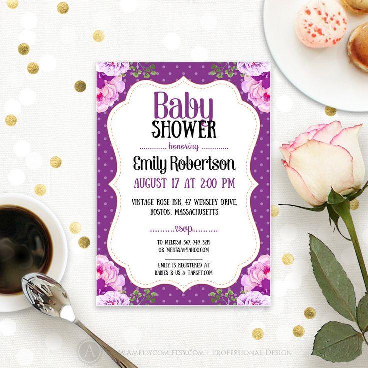 Purple Baby Shower Invitation Printable - Gender Neutral Baby Shower ...