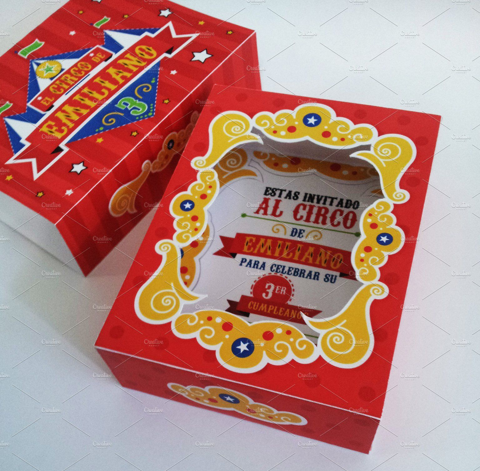 circus box birthday invitation letter eps file illustrator new