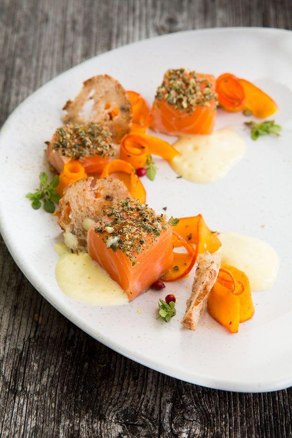 Photo of Salmon sashimi with pepper bread, pumpkin carpaccio and rosé sabayon