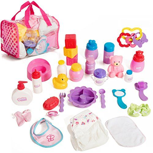 Mommy & Me Baby Doll Care Set - with 30 Accessories in Bag #dollcare