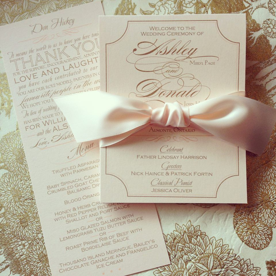 Soft, Romantic and Classic Blush Pink Menu with Thank You Verse and ...