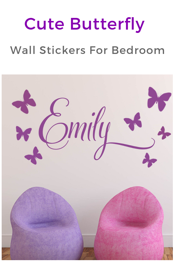 Girls personalised wall sticker with butterflies in neutral
