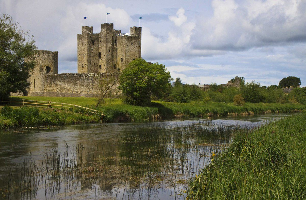 he Trim castle site was chosen because it is on raised