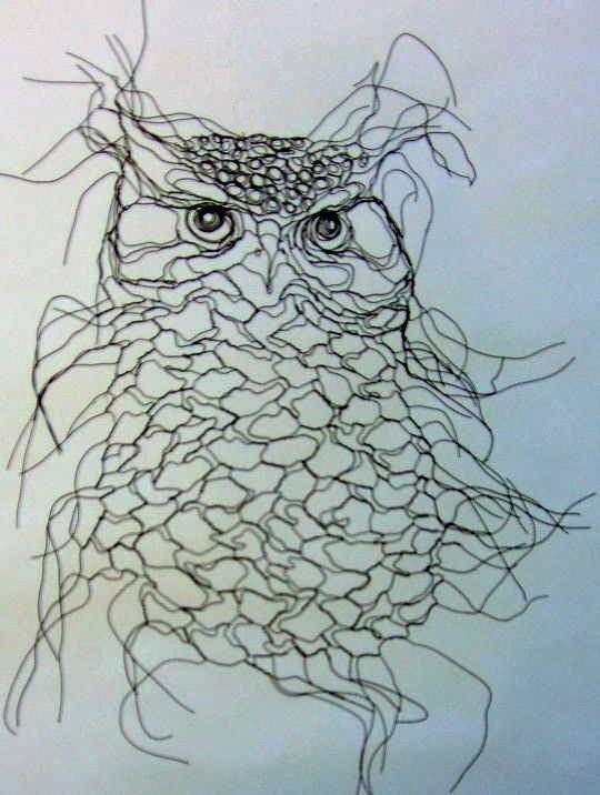 Owl Spirit Wire Sculpture Wall Art by Famous Wire Sculptor Elizabeth ...